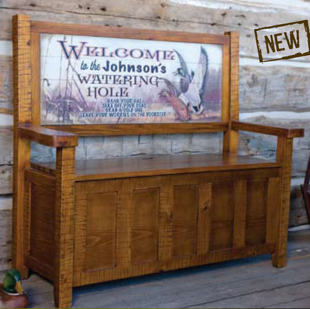 Pine Storage Bench with Custom Sign Back