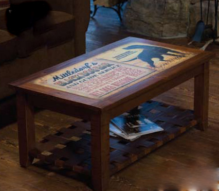 customizable vintage sign coffee table