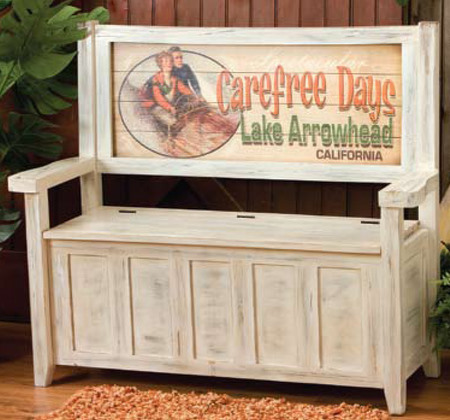 & Weathered White Storage Bench with Custom Vintage Sign Back