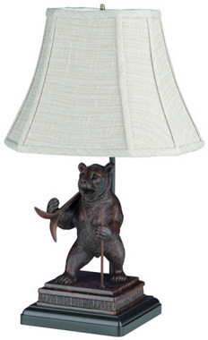 Cabin Decor Table And Floor Lamps