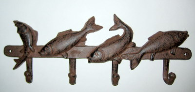 Four fish coat hooks - Cast iron row of hooks ...