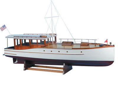 Lake union dreamboat wood cabin cruiser model