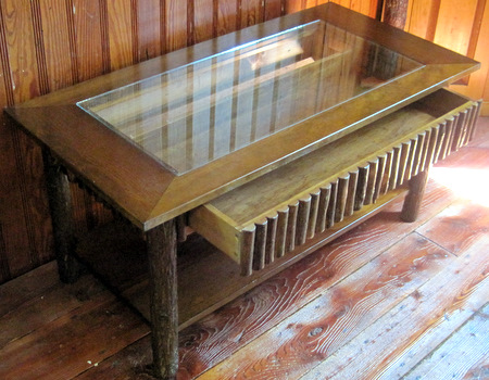 Hickory twig coffee table display case for Showcase coffee table