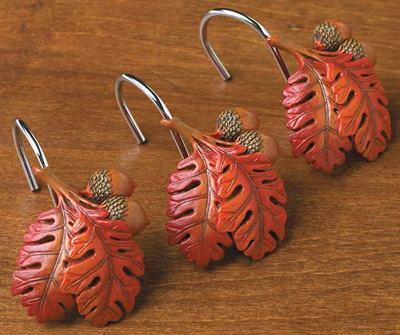 acorn and oak leaves shower hooks