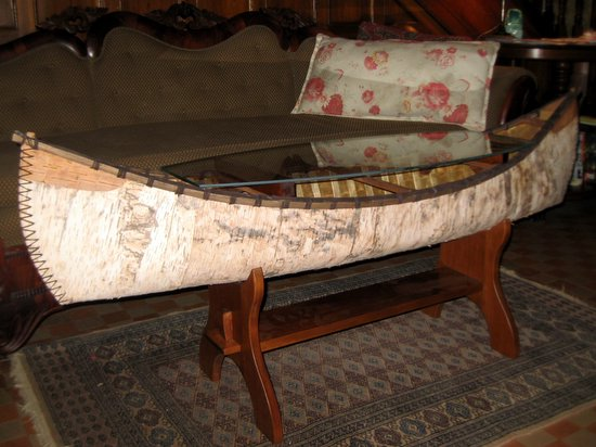 birch bark canoe coffee table